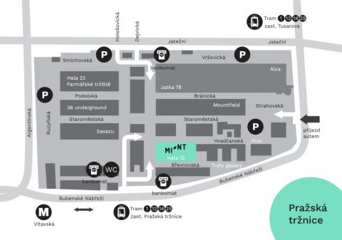 MINT: Prague Fashion Market - mapa Pražské tržnice